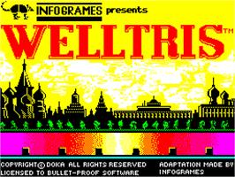 Title screen of Welltris on the Sinclair ZX Spectrum.