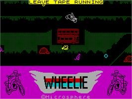 Title screen of Wheelie on the Sinclair ZX Spectrum.