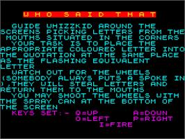 Title screen of Who Said That? on the Sinclair ZX Spectrum.
