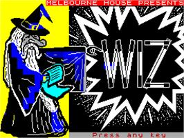 Title screen of Wiz on the Sinclair ZX Spectrum.