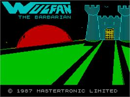 Title screen of Wolfan on the Sinclair ZX Spectrum.