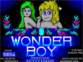 Title screen of Wonder Boy on the Sinclair ZX Spectrum.