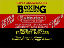 Title screen of World Championship Boxing Manager on the Sinclair ZX Spectrum.