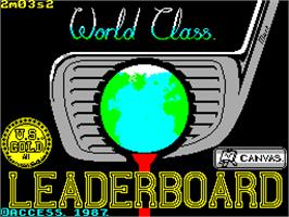 Title screen of World Class Leader Board on the Sinclair ZX Spectrum.