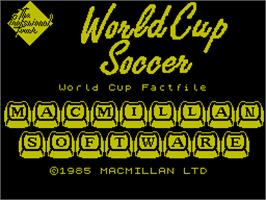 Title screen of World Class Soccer on the Sinclair ZX Spectrum.