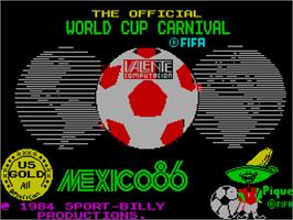 Title screen of World Cup Carnival on the Sinclair ZX Spectrum.