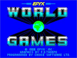 Title screen of World Games on the Sinclair ZX Spectrum.