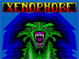 Title screen of Xenophobe on the Sinclair ZX Spectrum.