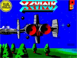 Title screen of Xevious on the Sinclair ZX Spectrum.