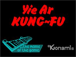 Title screen of Yie Ar Kung-Fu on the Sinclair ZX Spectrum.