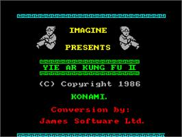 Title screen of Yie Ar Kung-Fu 2: The Emperor Yie-Gah on the Sinclair ZX Spectrum.