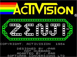 Title screen of Zenji on the Sinclair ZX Spectrum.