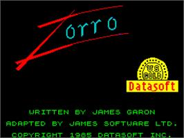 Title screen of Zorro on the Sinclair ZX Spectrum.
