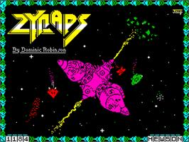 Title screen of Zynaps on the Sinclair ZX Spectrum.