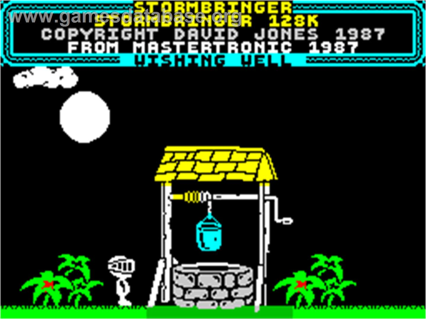 Title screen of Stormbringer on the Sinclair ZX Spectrum.