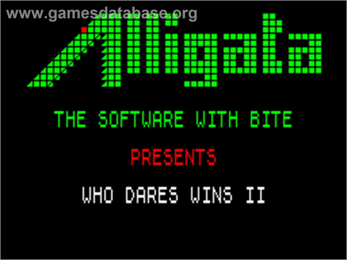 Who Dares Wins II - Sinclair ZX Spectrum - Artwork - Title Screen