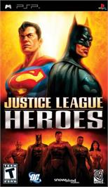 Box cover for Justice League Heroes on the Sony PSP.