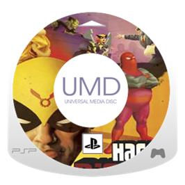 Cartridge artwork for Harvey Birdman: Attorney at Law on the Sony PSP.