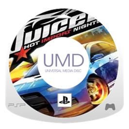Cartridge artwork for Juiced 2: Hot Import Nights on the Sony PSP.