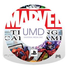 Cartridge artwork for Marvel Trading Card Game on the Sony PSP.