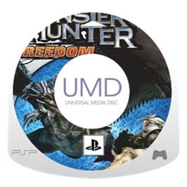 Cartridge artwork for Monster Hunter Freedom 2 on the Sony PSP.