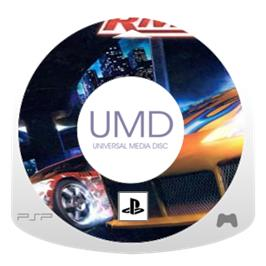 Cartridge artwork for Need for Speed Underground: Rivals on the Sony PSP.