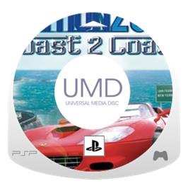Cartridge artwork for Out Run 2006: Coast 2 Coast on the Sony PSP.