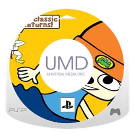 Cartridge artwork for PaRappa the Rapper on the Sony PSP.