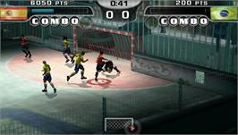 In game image of FIFA Street 2 on the Sony PSP.