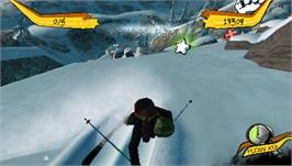 In game image of Freak Out: Extreme Freeride on the Sony PSP.