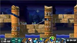 In game image of Lemmings on the Sony PSP.