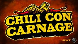 Title screen of Chili Con Carnage on the Sony PSP.