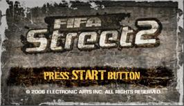 Title screen of FIFA Street 2 on the Sony PSP.