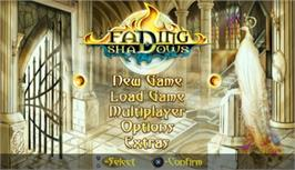 Title screen of Fading Shadows on the Sony PSP.