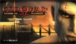 Title screen of God of War: Chains of Olympus on the Sony PSP.