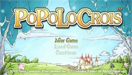 Title screen of PoPoLoCrois on the Sony PSP.