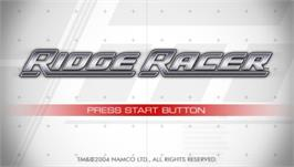 Title screen of Ridge Racer on the Sony PSP.