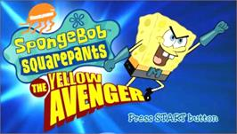 Title screen of SpongeBob SquarePants: The Yellow Avenger on the Sony PSP.