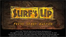 Title screen of Surf's Up on the Sony PSP.
