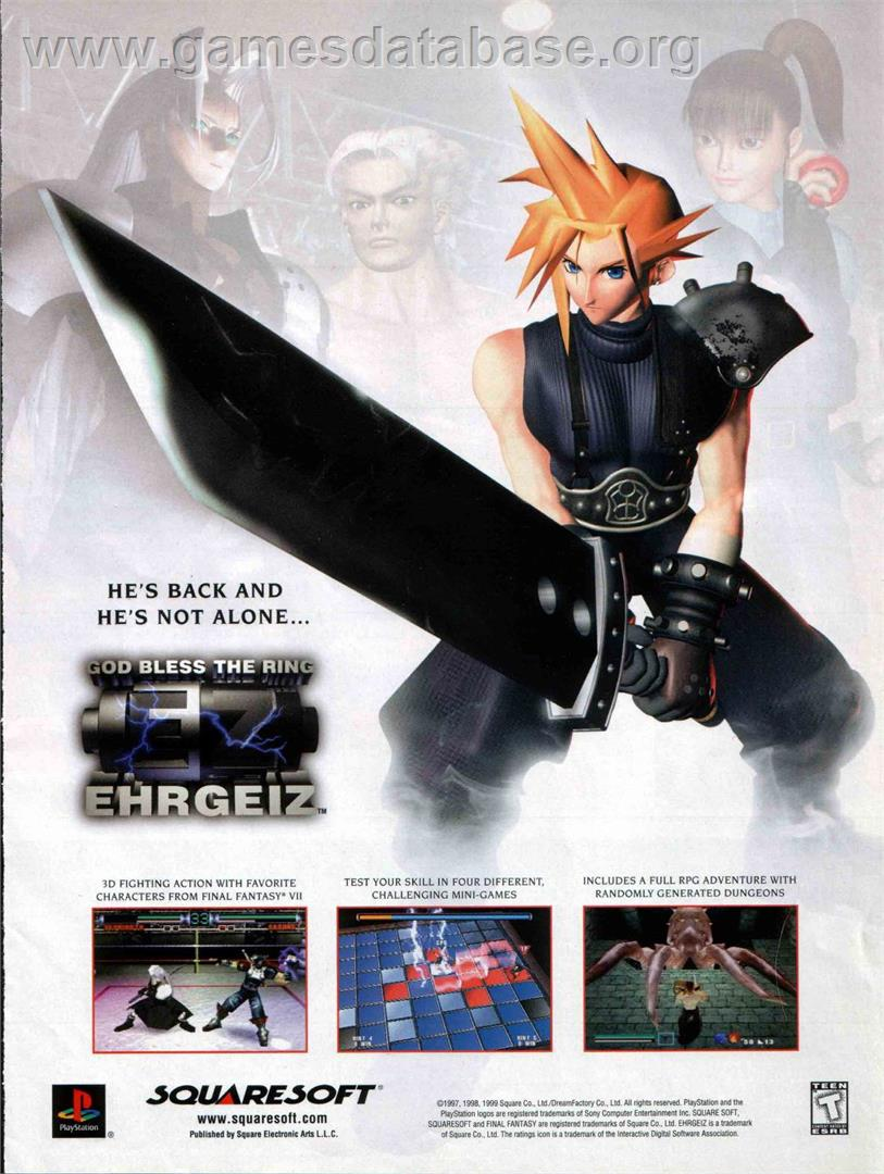 Ehrgeiz God Bless the Ring   Sony Playstation   Artwork   Advert