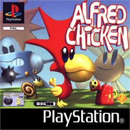 Box cover for Alfred Chicken on the Sony Playstation.