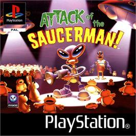 Box cover for Attack of the Saucerman on the Sony Playstation.