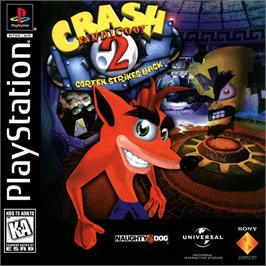 Box cover for Crash Bandicoot 2: Cortex Strikes Back on the Sony Playstation.