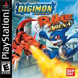 Box cover for Digimon Rumble Arena on the Sony Playstation.