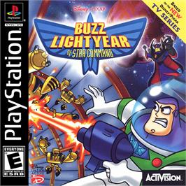 Box cover for Disney/Pixar's Buzz Lightyear of Star Command on the Sony Playstation.
