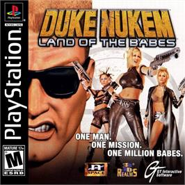 Box cover for Duke Nukem: Land of the Babes on the Sony Playstation.