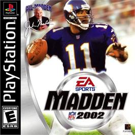 Box cover for Madden NFL 2002 on the Sony Playstation.