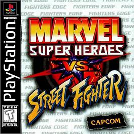 Box cover for Marvel Super Heroes Vs. Street Fighter on the Sony Playstation.