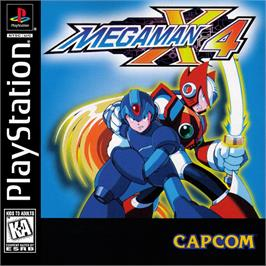 Box cover for Mega Man X4 on the Sony Playstation.
