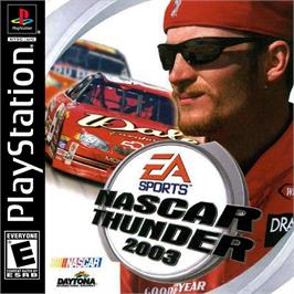 Box cover for NASCAR Thunder 2003 on the Sony Playstation.